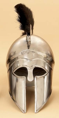 "19"" Great Greek Style Steel Helmet Armor with Black Plume Brand Woodland"