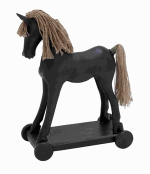 "19"" H Classic Durable Wood Jute Horse for Conventional Decor Brand Woodland"
