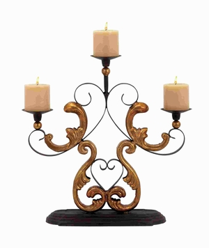 "19""H Classic Metal Candelabra in Gold Finished Baroque Accents Brand Woodland"