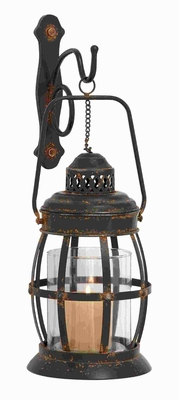 """19""""H Metal Glass Wall Lantern Designed with arched Contours Brand Woodland"""