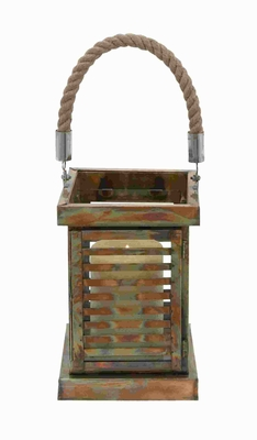 "19""H Metal Lantern Impeccably Designed in Rectangular Shape Brand Woodland"