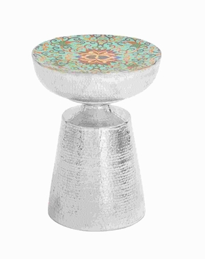 "19""H Metal Stool in Textured Design with Sturdy Round Base Brand Woodland"