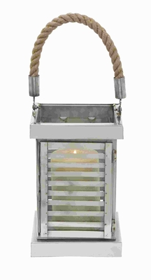 "19""H Steel Lantern Detailed with Neat Lines and Smooth Corners Brand Woodland"