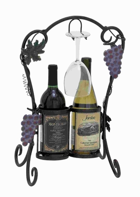 "19""H Unique Metal Wine Holder Decorated with Metal Tendrils Brand Woodland"