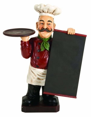 """19"""" Polyresin French Fat Chef with Chalk Board Menu and Tray Brand Woodland"""