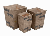 "19"" Wood Planter with Brown Colored Arrow Mark (Set of 3) Brand Woodland"