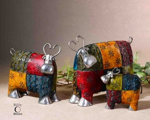 19058 Colorful Cows Accessories Set/3: Excellent Addition To Any Decor Brand Uttermost