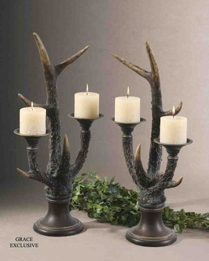 19204 Stag Horn Candleholder S/2: Dancing Lights To Enlighten You Brand Uttermost