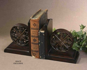 19251Chakra Bookends, Set/2: Carved Beautifully Brand Uttermost