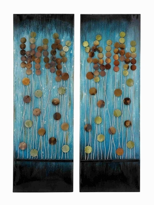 Handcrafted Metal Wall Plaque with Aesthetic Appeal 2 Assorted - 92353 by Benzara