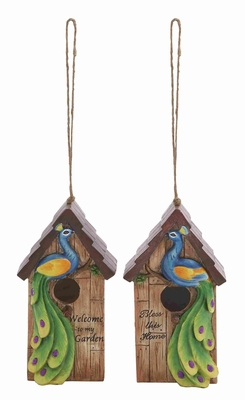 2 Assorted Polystone Peacock Birdhouse with Beautiful Blend of Colors Brand Woodland