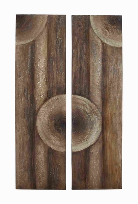 2 Assorted Wooden Wall Art with Intricate Aesthetic Design Brand Woodland