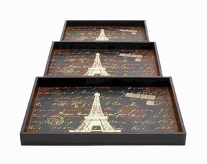 "2"" H Elegant Wood Trays with A Persian Touch (Set of 3) Brand Woodland"