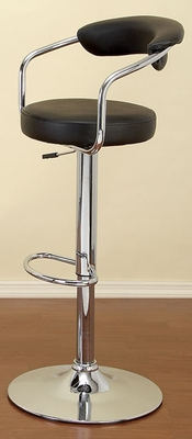 Ritz Bar Stool in Black Leather with Gas Lift, Full Swivel and Back Rest Brand Woodland
