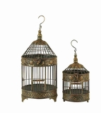 "20"" Classic Patina Metal Round Parakeet Birds Cages - Set of 2 Brand Woodland"
