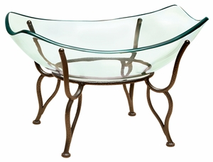 """20"""" Decorative Monarch Glass Bowl with Classic Base Metal Stand Brand Woodland"""