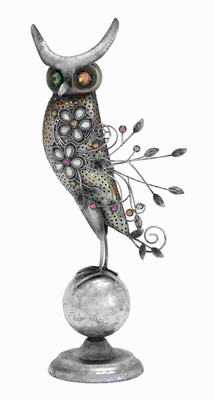 "20"" H Attractive Metal Owl Perched on A Small Metal Globe Brand Woodland"