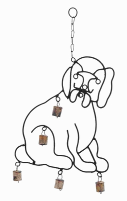 """20""""H High Quality Metal Wind Chime with Sculpted Dog Image Brand Woodland"""