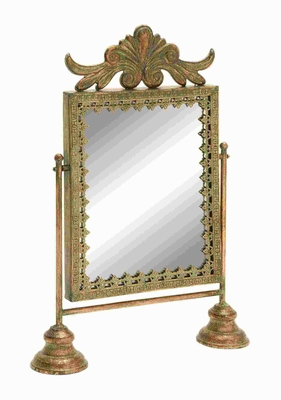 "20""H Metal Mirror with Gold Finish and Weathered Accents Brand Woodland"