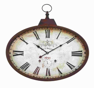 "20""H Metal Wall Clock Design in Rustic and Unique Pattern Brand Woodland"