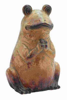"""20"""" H Modern Ceramic Frog with Rustic and Antique Finish Brand Woodland"""