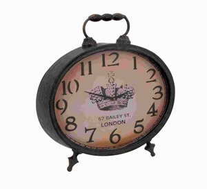 "20""H Unique Metal Clock Lavished with Matte Brown Finish Brand Woodland"