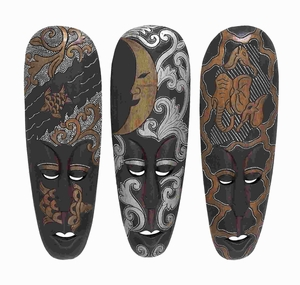 "20"" H Wood African Mask Designed with Turtles 3 Assorted Brand Woodland"
