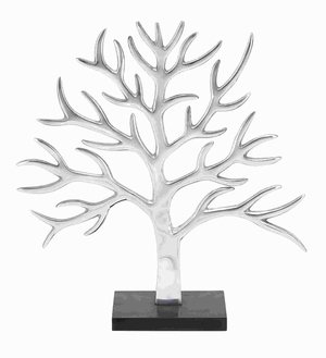 "21""H Aluminium Decor Tree Transitional Design Silver Finish Brand Woodland"