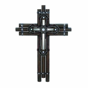 "21""H Beautiful Wood Mirror Wall Cross Smooth with Sparkle Brand Woodland"