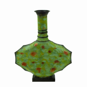 "21"" H Contemporary Metal Vase Green with Timeless Design Brand Woodland"