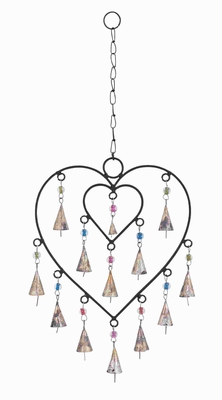 """21""""H Delightful Wind Chime with Adorable Small Heart Inside Brand Woodland"""