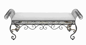 "21""H Greek Styled Metal Fabric Bench Lavishly Curled Side-arms Brand Woodland"
