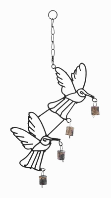 "21""H High Quality Metal Bird Wind Chime with Curvy Base Brand Woodland"