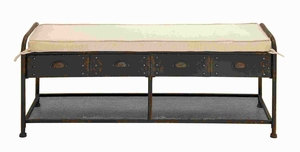 "21""H Metal Fabric Bench in Brown Colored with Metallic Base Brand Woodland"