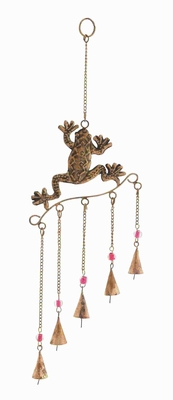 "21"" H Metal Frog Wind Chime with Copper Finished Design Brand Woodland"