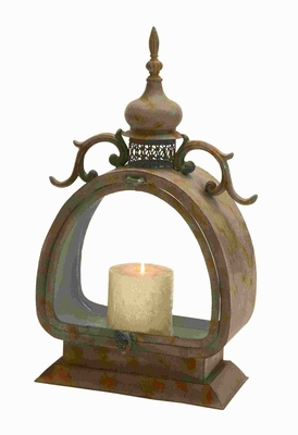"21""H Metal Lantern with Antique Design and Classic Settings Brand Woodland"