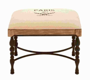 "21""H Metal Wood Fabric Stool Encased with a Soft Cushion Brand Woodland"