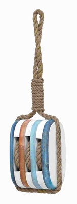 "21""H Wood Rope Nautical Decor with Fine Detail and Bright Color Brand Woodland"