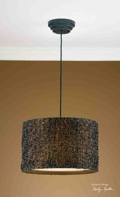 21103 Knotted Rattan Hanging Shade: Espresso Finish Is Its Attraction Brand Uttermost