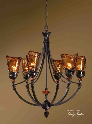 21227 Vitalia 6 LT Chandelier: Modern Style Of Lighting Brand Uttermost