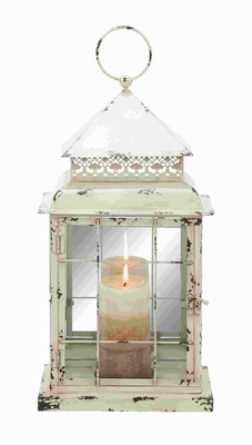 "22"" H Classic Metal Glass Lantern with Antique Styled Design Brand Woodland"