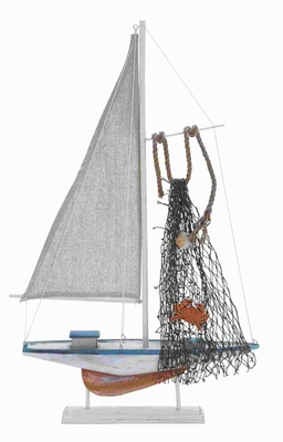 "22""H High Quality Wood Sailing Boat with Meticulous Sculpting Brand Woodland"