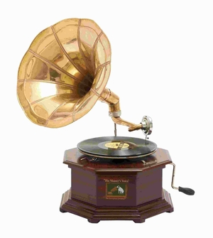 "22"" H Traditional Wood Metal Gramophone with Exquisite Design Brand Woodland"