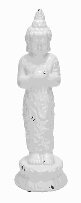 "22""H Unique Designed Ceramic Buddha in White Glossy Finish Brand Woodland"
