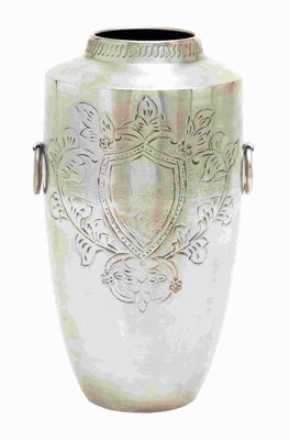 "22"" H Unique Metal Nickel Plated Vase with Striking Pattern Brand Woodland"