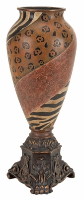 "22"" Safari Design Brown Flower Vase with Intricate Design Brand Woodland"