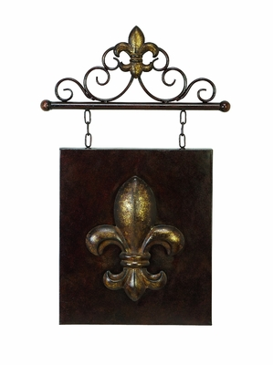 "23"" Classic Fleur Di Lis Metal Arch Wall Decor Sculpture Brand Woodland"