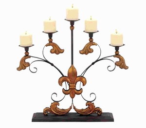 "23""H Metal Candelabra Detailed with Ornate Scroll Accents Brand Woodland"