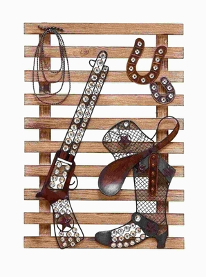 """23""""H Wood Metal Wall Decor Unique and Stylishly Designed Brand Woodland"""