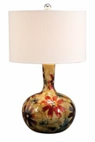 "23"" Picasso Glass Table Lamp with Quality Fabric White Shade Brand Woodland"